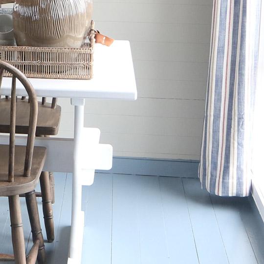 Nærbilde av gulv og list malt i samme farge