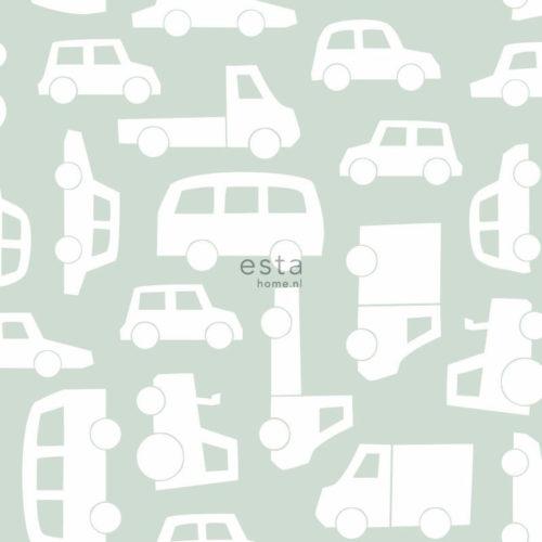 Utsnitt av grønn tapet med hvite biler